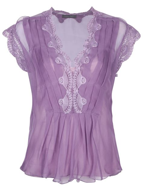 lavender blouses and tops alberta ferretti lace embroidered top in purple lyst