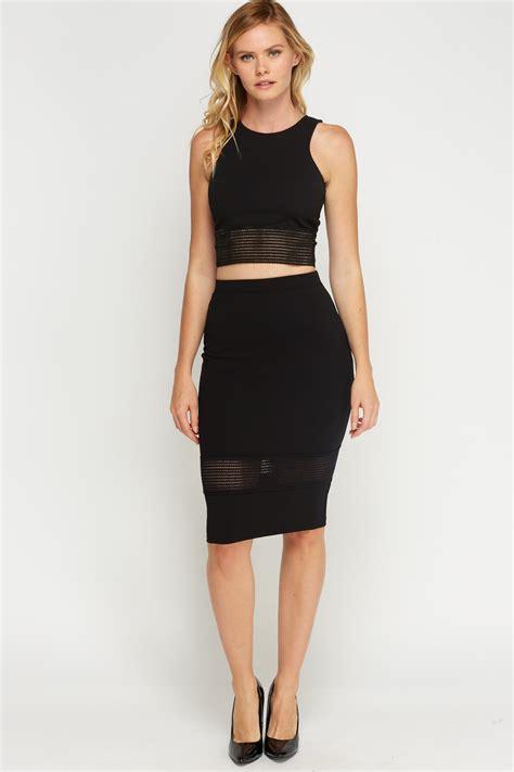 Elasticated Hem Black Bodycon Skirt - Just u00a35