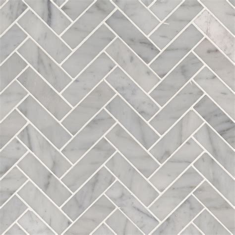 carrara white  herringbone polished backsplash tile