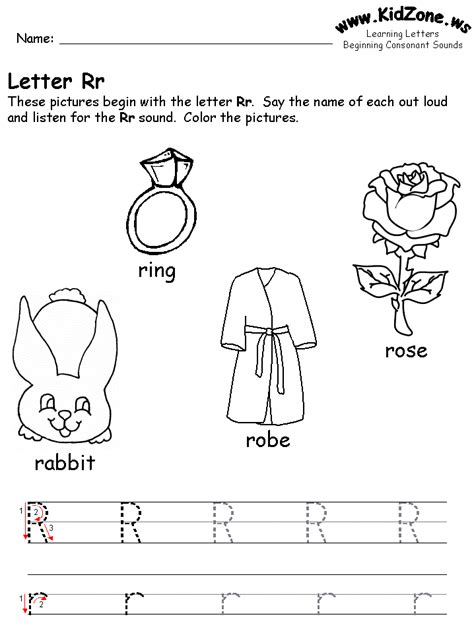 beginning consonant sound worksheets 146 | r