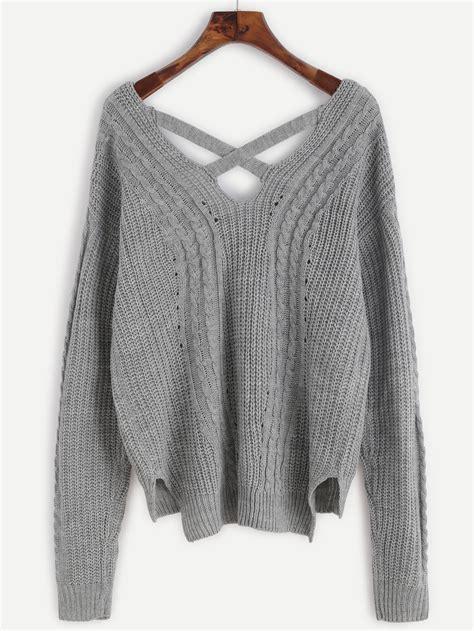 criss cross sweater grey cable knit criss cross back sweater shein sheinside
