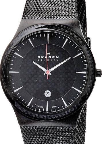skagen titanium wrist watches titanium mesh  black