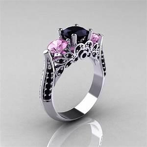 14k white gold three stone light pink sapphire black With black wedding ring with pink diamonds