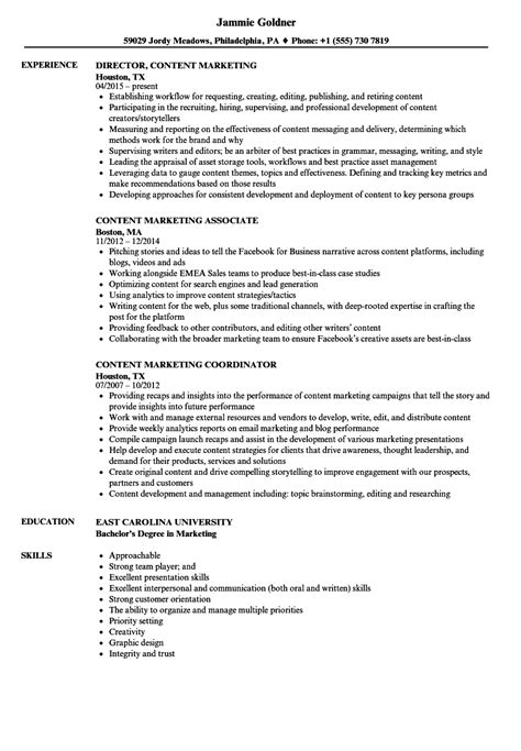 Resume Content by Content Marketing Resume Sles Velvet