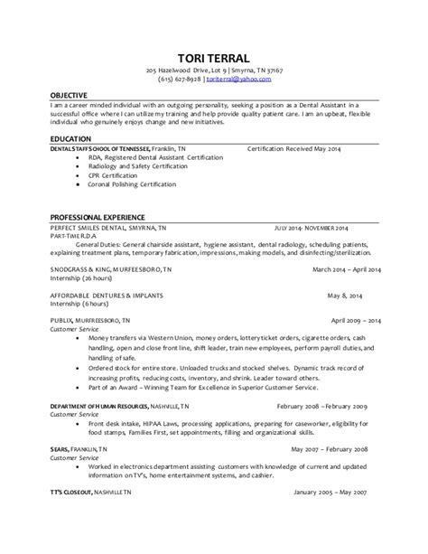 dental assistant resume objectives terral dental assistant resume 4
