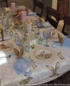 Spring Easter Tablescape With Williams Sonoma Damask Bunny