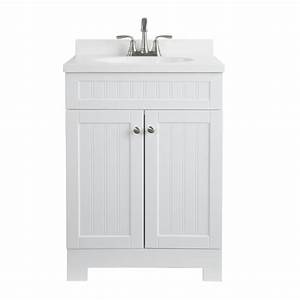 Shop style selections ellenbee white integrated single for White vanity cabinets for bathrooms