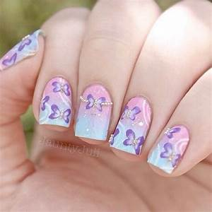 Clear Nail Designs With Flowers 30 Pretty Butterfly Nail Art Designs Noted List