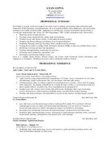 agile coach resume summary resume of gyan gupta for agile scrummaster position