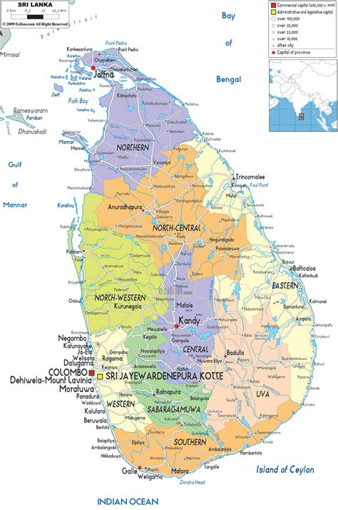 political map  sri lanka ezilon maps