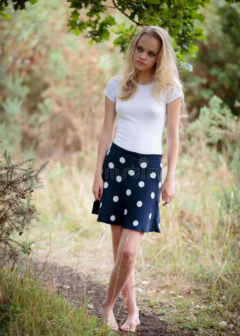 Beautiful Blond Teenage Girl Outside In The Woods Stock Image Image Of Outdoors Spring