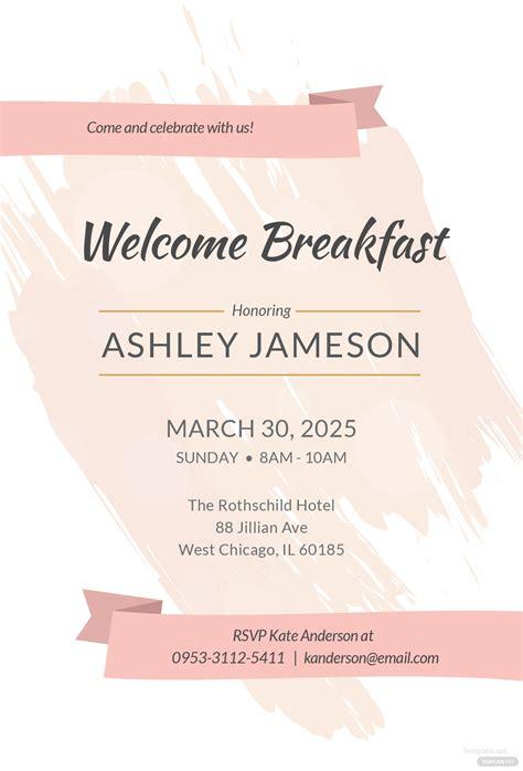 breakfast invitation template  adobe