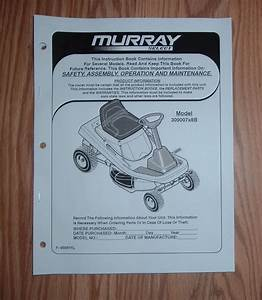 Murray 309007x8b Riding Mower Owners Manual With