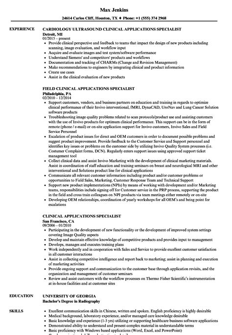 Clinical Documentation Specialist Resume by Clinical Applications Specialist Resume Sles Velvet
