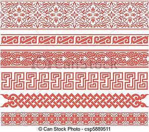Vector Clip Art of eastern style oriental border set