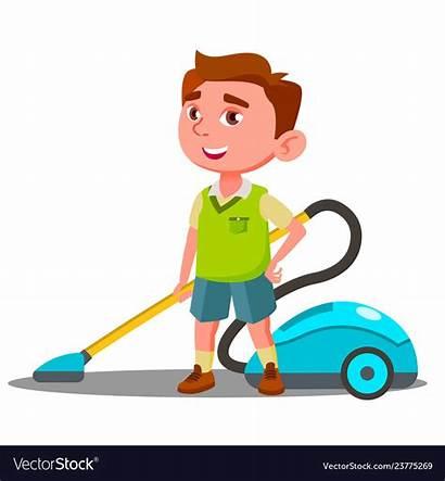 Vacuum Boy Cleaner Helps Vector Royalty