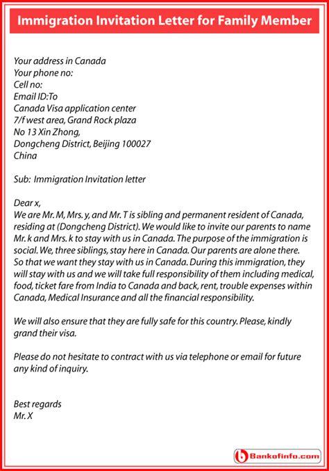 immigration invitation letter  family member sample