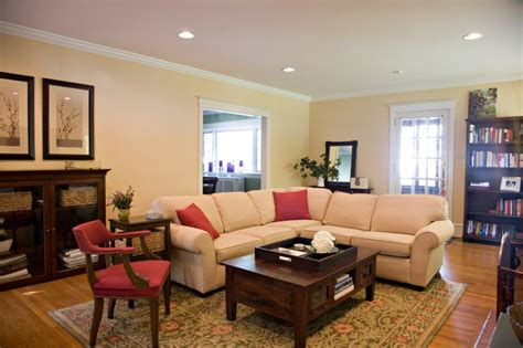 Chic Contemporary Spaces Rendered By Anh Nguyen : Traditional Living Room With Cream Sectional And Red