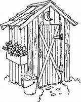 Outhouse Drawings Coloring Template Sketch sketch template