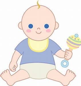 Baby Boy With Rattle - Free Clip Art
