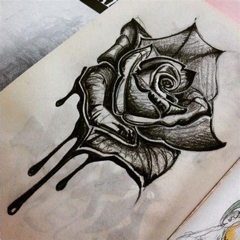 dessin fleur tatouage noir  blanc acidcruetattoo