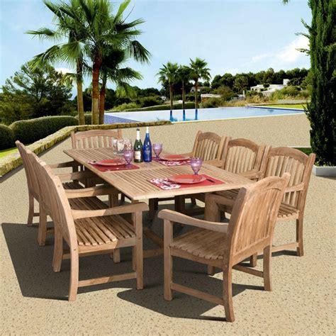 amazonia newcastle 9 teak patio dining set sc dian