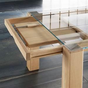 Table Verre Bois : table extensible design en verre et bois massif sidney 4 ~ Teatrodelosmanantiales.com Idées de Décoration