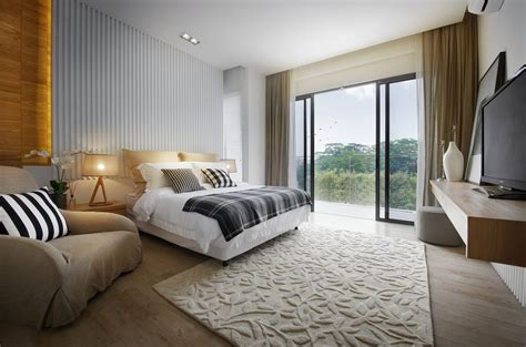 bedroom rug patio doors balcony modern townhouse