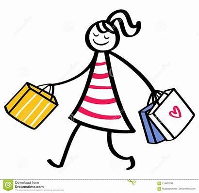 Stick Figure Woman Shopping Bags Holding Wearing