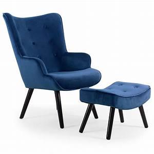 Repose Pied Scandinave : fauteuil scandinave avec repose pied velours bleu sonia ~ Melissatoandfro.com Idées de Décoration