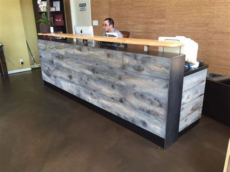 reclaimed wood reception desk buy a made reclaimed distressed wood 4536