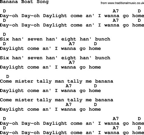 Banana Boat Song Lyrics by Top 1000 Folk And Time Songs Collection Banana Boat