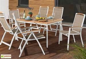 Salon de Jardin Alu avec Table Teck + 6 Chaises Blanc Catena Sieger