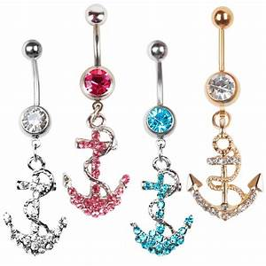 Dangle Rhinestone Anchor Button Barbell Belly Navel Ring ...