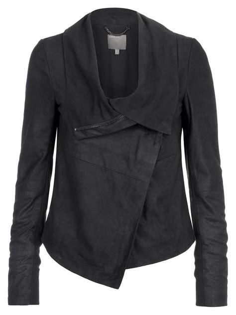 draped leather jacket muubaa sinoia black leather drape jacket