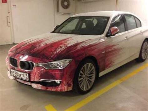 bmw drivers offensively painted car    bloody