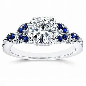 antique moissanite and blue sapphire engagement ring with With white gold wedding bands and engagement rings