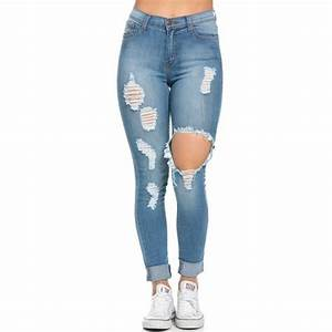 High Waisted Distressed Skinny Jeans in Blue (155 BRL ...