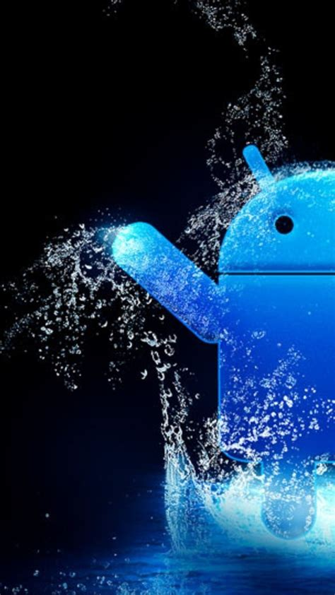 blue water android logo android wallpaper