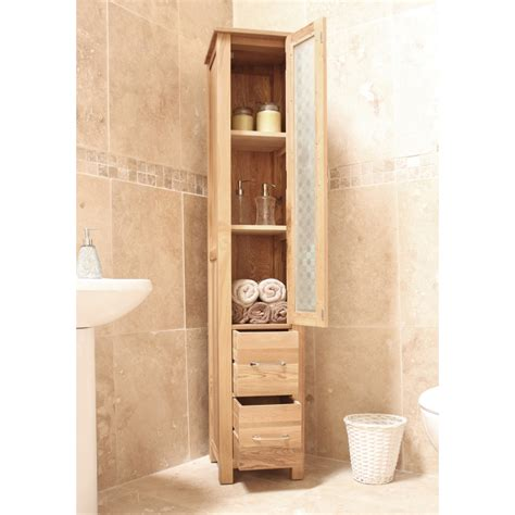 mobel bathroom cabinet tall storage cupboard solid oak