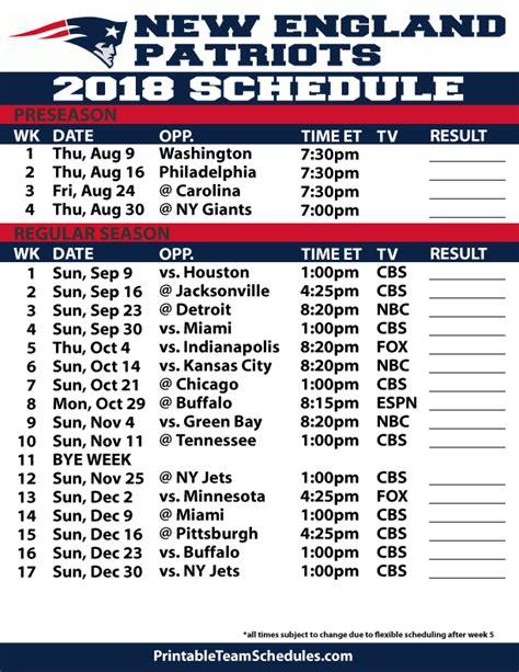 ne patriots schedule  printable   printable