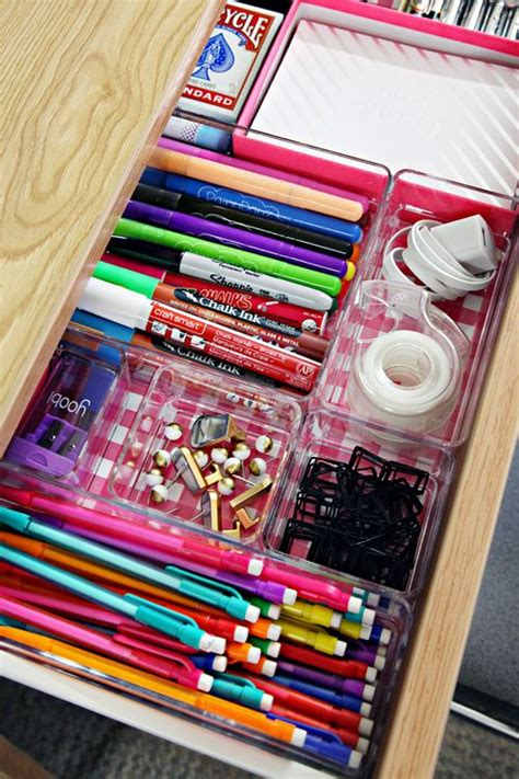 cool things for your desk line your desk drawers with scrapbook paper and add clear