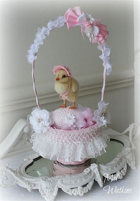 shabby chic easter pink white shabby chic style easter basket and decorated egg i made for my little needle
