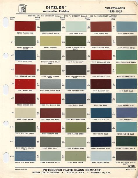vw original paint color chart cars i