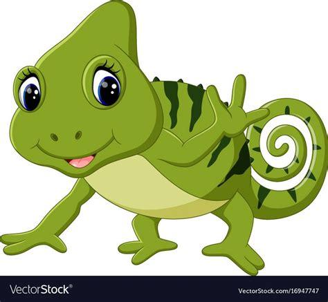 illustration  cartoon cute chameleon