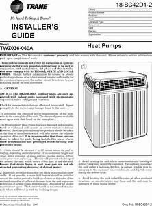 Trane Air Conditioner  Heat Pump Outside Unit  Manual L0810502