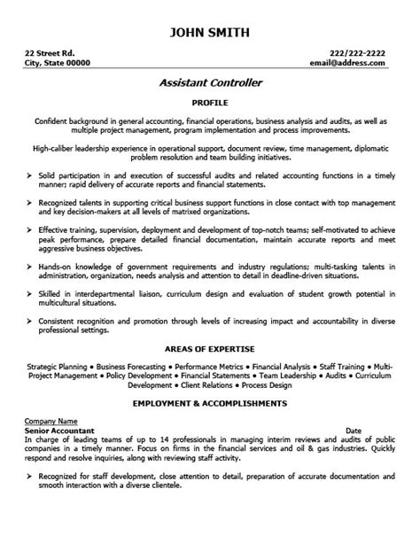 controller resume format 28 images resume exle for a