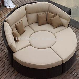 outdoor rattan wicker garden furniture set round sofa bed With circle sofa bed