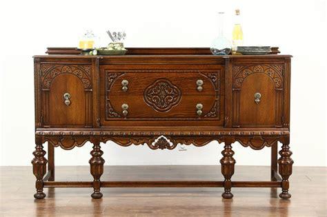 Tudor Design 1925 Antique Carved Oak Sideboard Server Or