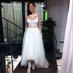 plus size high low wedding dresses with long lace sleeve With long sleeve high low wedding dresses